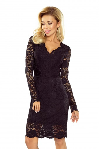 Czarna sukienka koronkowa do kolan