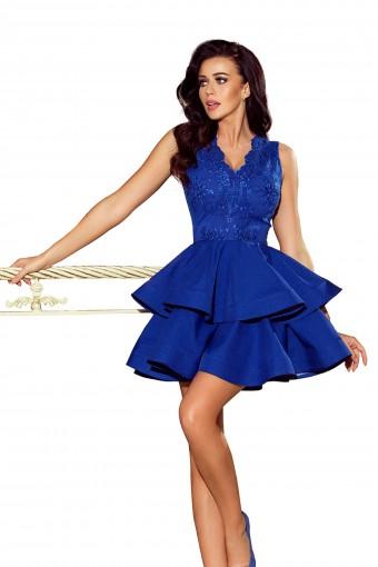 Chabrowa sukienka wieczorowa rozkloszowana