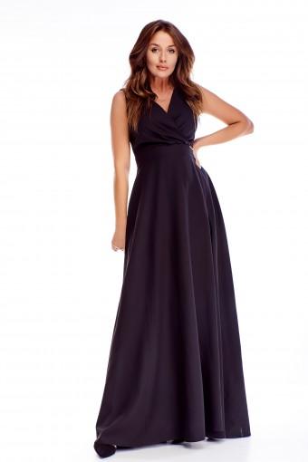 Czarna sukienka maxi rozkloszowana