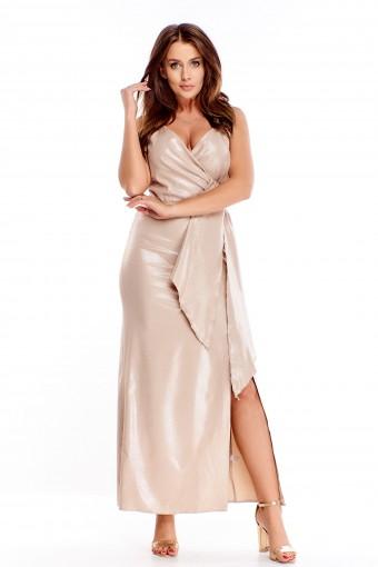 Beżowa sukienka maxi wieczorowa