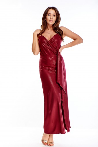 Bordowa sukienka maxi wieczorowa