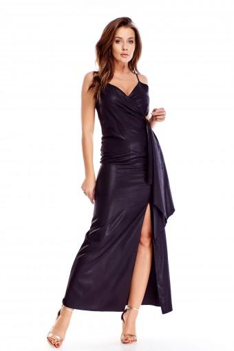 Czarna sukienka maxi wieczorowa
