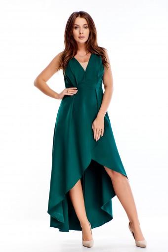 wieczorowa sukienka maxi z falbaniastym rozporkiem i drapowaniami przy biuście