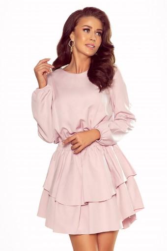 Różowa sukienka z bufiastymi rękawami