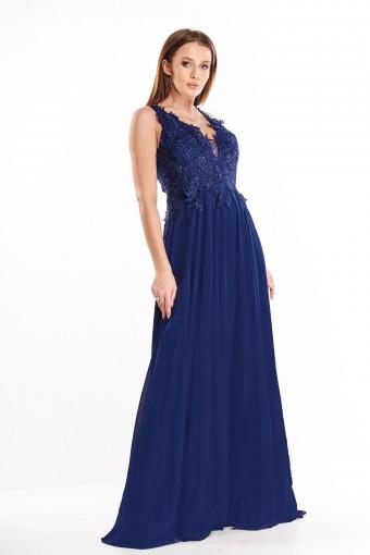 Granatowa sukienka wieczorowa maxi na ramiączkach