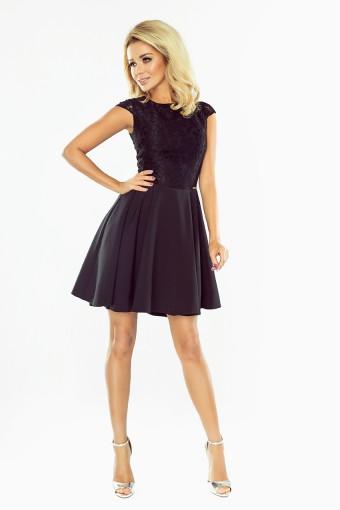 Czarna rozkloszowana sukienka z koronkową górą