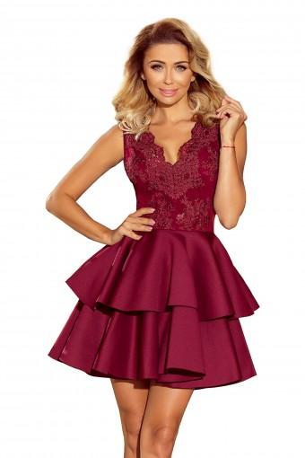 Bordowa sukienka wieczorowa mini