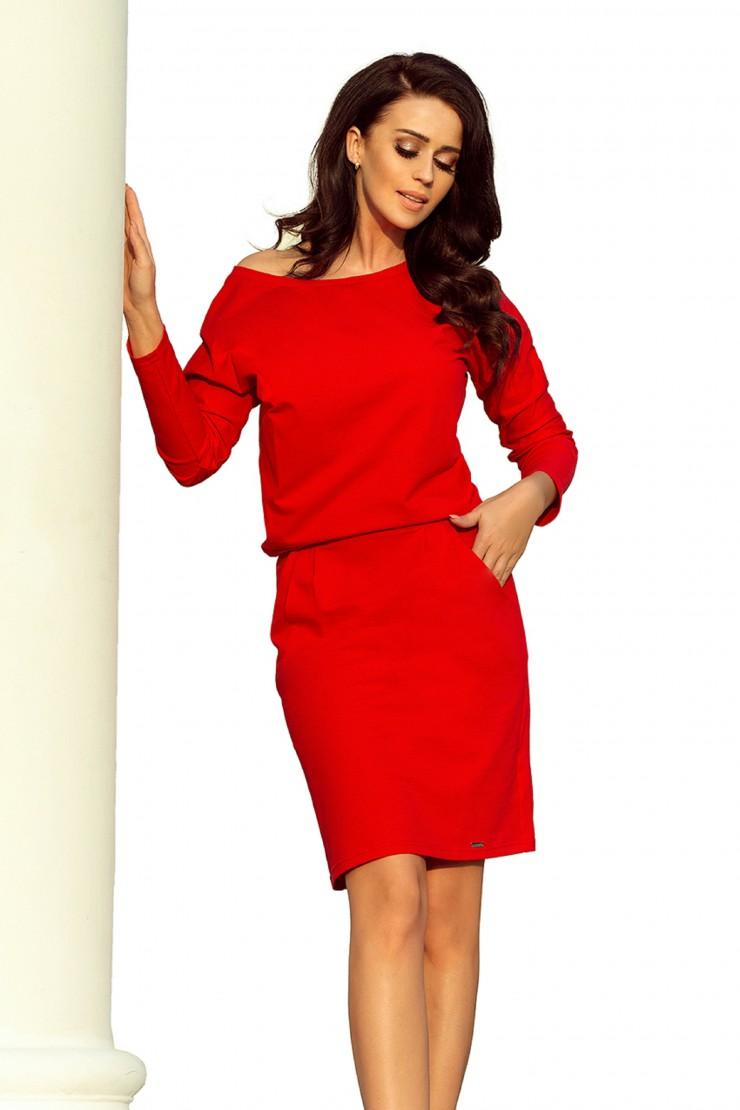 Czerwona sukienka bawełniana do kolan