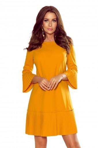 Żółta sukienka z rozkloszowanymi rękawami