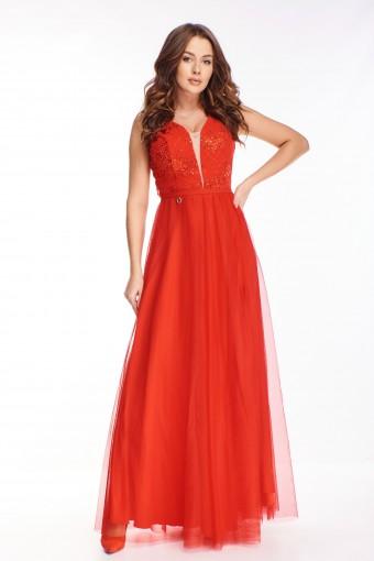 Czerwona sukienka tiulowa maxi