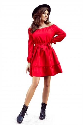 Czerwona sukienka hiszpanka z falbankami