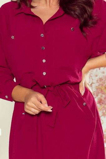 Bordowa sukienka koszulowa