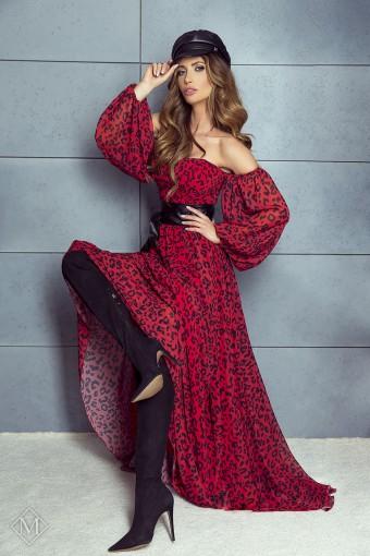 Sukienka maxi z bufiastymi rękawami