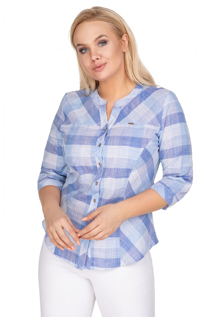 Bawełniana bluzka koszulowa w kratkę