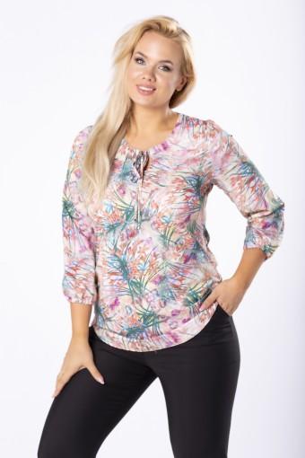 Kolorowa bluzka z wiązaniem przy szyi