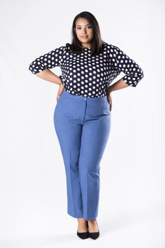Niebieskie spodnie w kant