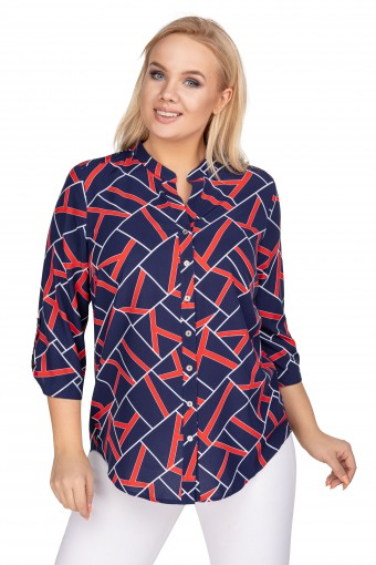 Bluzka koszulowa z dłuższym tyłem