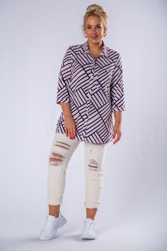 Bluzka o koszulowym kroju z kieszenią na biuście