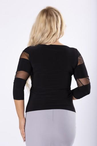 Czarna bluzka z tiulowymi wstawkami na rękawach i dekolcie