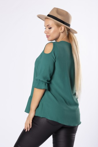 Zielona bluzka z rozcięciami na ramionach