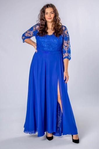 Niebieska sukienka maxi z koronkową górą