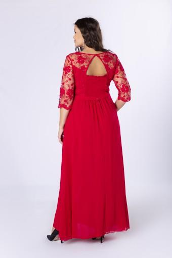 Czerwona sukienka maxi z koronkową górą