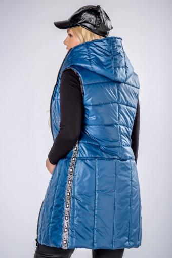 Długa kamizelka pikowana niebieska
