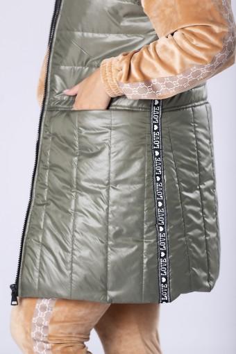 Długa kamizelka pikowana khaki