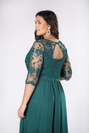Zielona sukienka maxi z koronkową górą