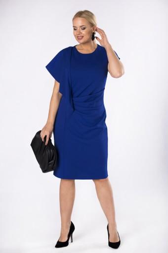 Niebieska sukienka z falbaną i drapowaniem z przodu