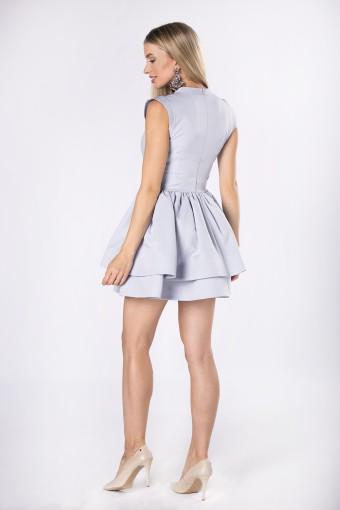 Szara sukienka z dwoma falbanami