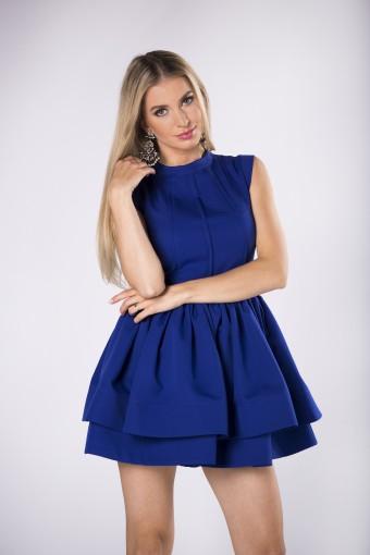 Niebieska sukienka z dwoma falbanami