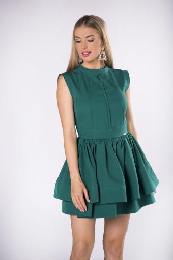 Zielona sukienka z dwoma falbanami
