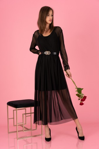 Czarna sukienka szyfonowa