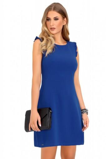 Niebieska sukienka ołówkowa bez rękawów