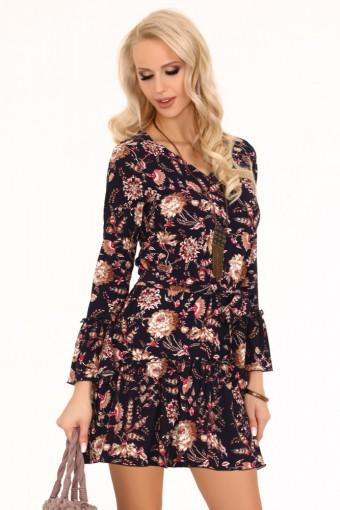 Kwiatowa sukienka rozkloszowana mini