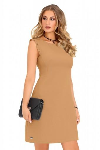 Karmelowa sukienka ołówkowa bez rękawów