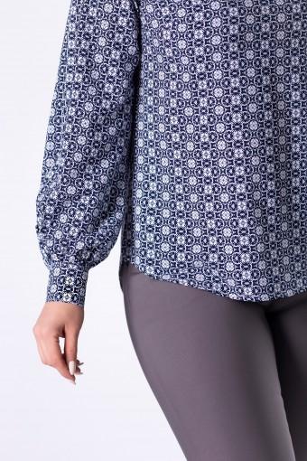 Elegancka bluzka koszulowa z lekko bufiastymi rękawami