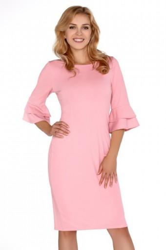 Różowa sukienka za kolano z falbanką na rękawach