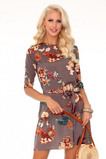 Elegancka luźna sukienka w kwiaty