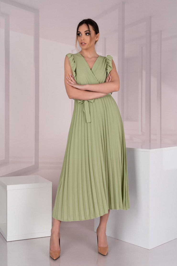 Oliwkowa sukienka midi