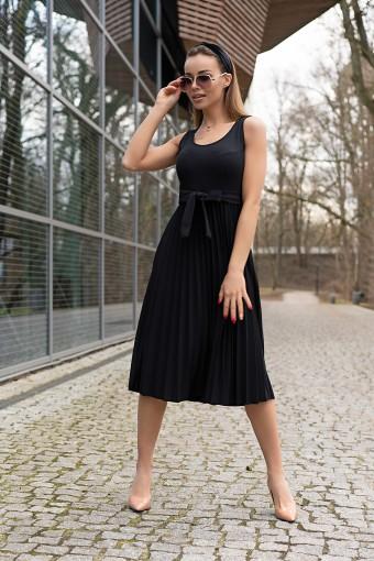Midi sukienka z plisowanym dołem