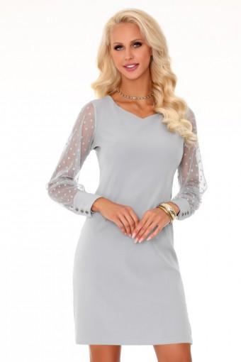 Szara sukienka z tiulowymi rękawami