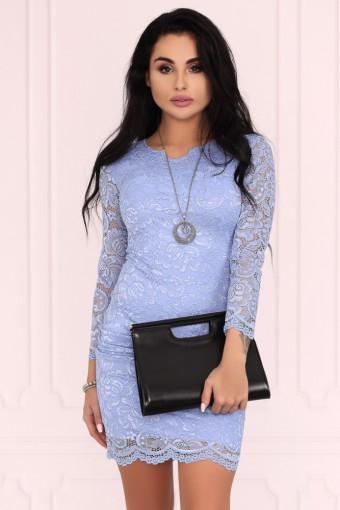 Błękitna sukienka mini koronkowa