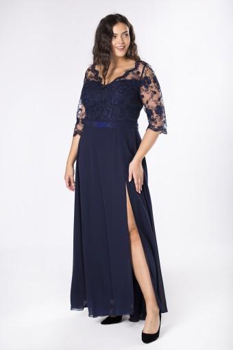 wieczorowa sukienka maxi z koronkową górą