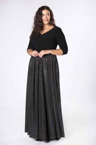 Czarna sukienka maxi z błyszczącym dołem