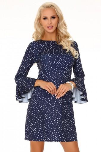 Granatowa sukienka z rozkloszowanymi rękawami