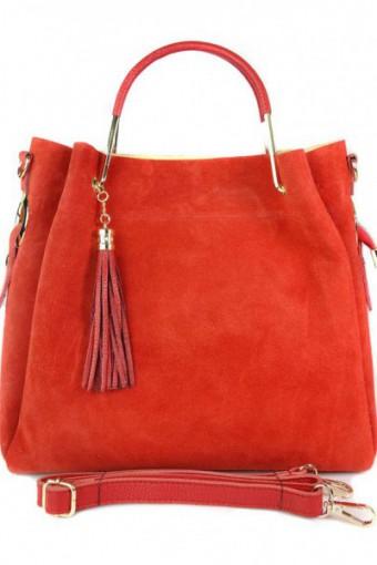 Zamszowy włoski kuferek Shopperka A4 ,złote okucia + frędzelek ,Czerwony Vera Pelle   KLV55R