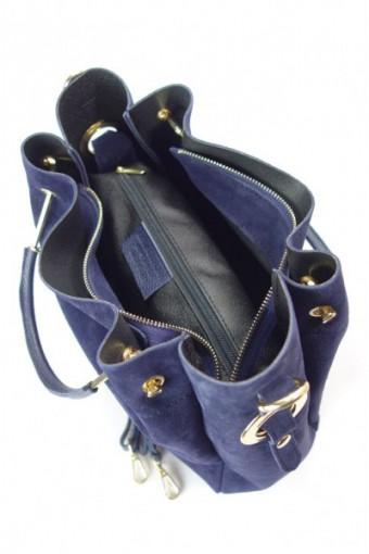 Zamszowy włoski kuferek Shopperka A4 ,złote okucia + frędzelek ,Granatowy Vera Pelle   KLV55BS