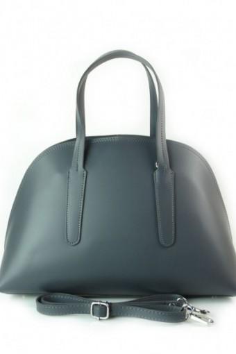 Kuferek Vera Pelle  Włoska torebka do ręki  szary K652G